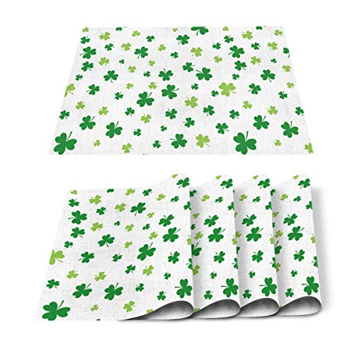 OneHoney Placemats 4Pcs Stain Resistant Table Mats Celtic Knots Lucky Shamrock for Happy St. Patrick's Day Washable Cotton Linen Dining Mat for Kitchen, Parties, Wedding Tables Decoration White
