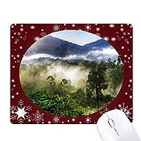 霧の林業科学は自然の風景 オフィス用雪ゴムマウスパッド