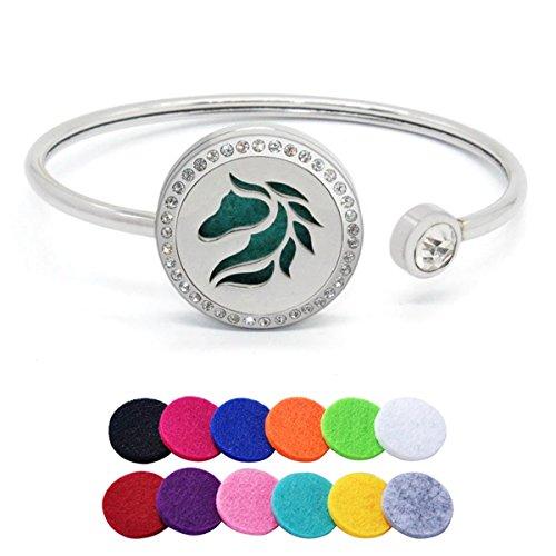 HooAMI Horse Aromatherapy Essential Oil Diffuser Bracelet Crystal Locket Bangle Adjustable Band