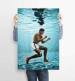 Muhammad Ali poster,Muhammad Ali underwater training poster print,Modern living room decoration wall art decoration painting poster printing home decoration (20x30 inch,No frame)