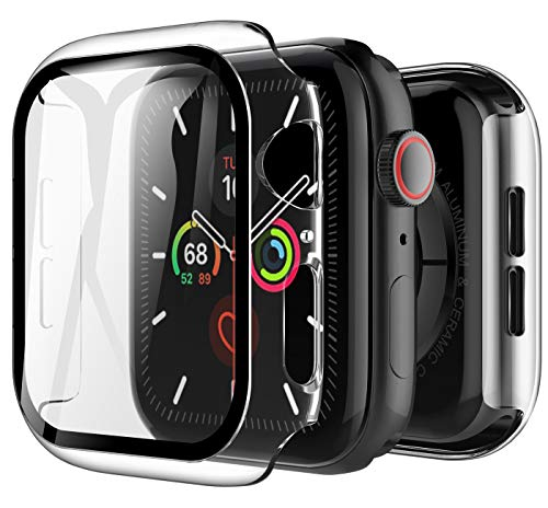 LK Funda Compatible con Apple Watch 44mm Series 4/Series 5 Protector de Pantalla ,[2 Pack] Cristal Vidrio Templado Compatible con iWatch Serie 5/Serie 4 44mm - Transparente