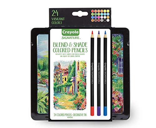 Crayola Signature Blend & Shade Soft Core Colored Pencils in Tin, Gift - 24 Count