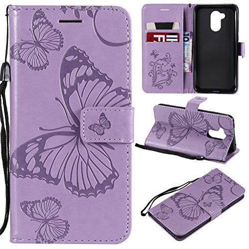 Kompatibel mit Schutzhülle Huawei Honor 6A Hülle,Prägung 3D Schmetterling Relief Lanyard Muster PU Lederhülle Flip Hülle Cover Ständer Bookstyle Wallet Tasche Hülle Schutzhülle Handyhülle,Lila