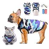 Camicie per Cani Maglietta Vestiti per Cani Gatto T-Shirt Camicie Sportive mimetiche Maglia Estiva Gilet per Cani Traspirante Abbigliamento da Spiaggia per Cuccioli, Cani di Piccola Taglia e Gatti