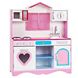 GYMAX Kids Toy Kitchen with Storage Shelf, Removable Sink, Oven, Stove, Wooden Toddler Pretend Role Play Cooking Set for Children Gift Education Game