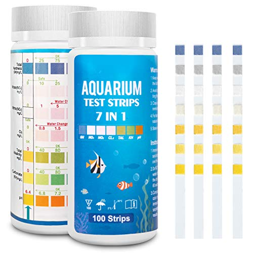FUNSW Aquarium Test Strips 7 in 1,Freshwater Master Kit, Water Testing Kit for Pond and Fish Tank,Nitrite, General Hardness, Free Chlorine,pH, Carbonate(100PCS