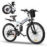 """Vivi Mountain Bike elettrica da 26"""", Bici elettrica da Montagna Pieghevole, Batteria Rimovibile 36V / 8AH, Bicicletta elettrica a 21 velocità per Adulti, Totale Assorbimento degli Urti (Bianco Blu)"""