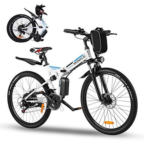 Vivi 26' Bicicletta elettrica, 350W Bicicletta elettrica Pieghevole,Bicicletta elettrica Pieghevole Adulto,Batteria Rimovibile 36V / 8AH, Bici elettrica Donna 21 velocità,Fino a 32 km/h,40 km