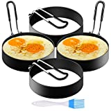 SYOSIN 4-Pack Anillos de Huevo, Molde para Panqueques, Moldes de Huevo Antiadherentes de Acero Inoxidable Set Moldeador de Huevos