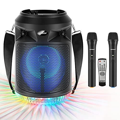 "GEARDON Bluetooth Speaker with Wireless Microphones, 8"" Subwoofer, Portable Outdoor Karaoke Machine for Adults & Kids w/ DJ Lights, Mics for Singing, Recording, BT/AUX/USB/TF/FM, Party Loud-Speaker"