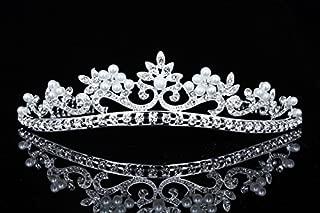 Flower Ribbon Bridal Wedding Prom Tiara Crown - Faux pearls silver plated T726