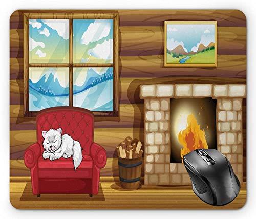 Kamin Mauspad, Karton Illustration des rustikalen Holzhauses mit verschlafener Katze auf Sofa Winter außerhalb mehrfarbiger Mauspad