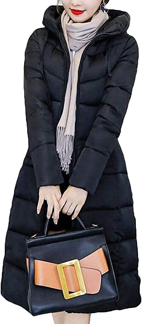 Women Solid Color Casual Thick Quilted Hooded Long Puffer Down Jacket