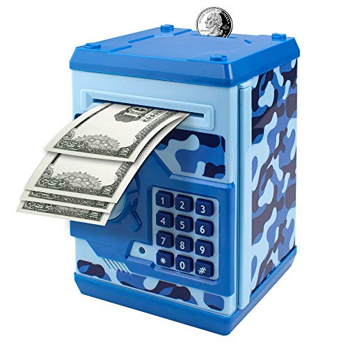 Suliper Electronic Piggy Bank Code Lock for Kids Baby Toy, Mini ATM Safe Coin Cash Banks Real Money Saving Box with Password, Auto Money Scroll for Children,Boys Girls Birthday Gift (Camouflage Blue)