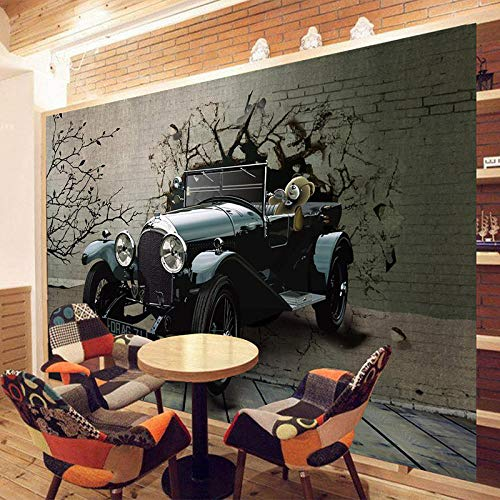 3D Tapete Vintage Auto gebrochen Wand Fototapete Moderne Retro Restaurant Cafe KTV Bar Design dekorative Seide Stofftapete-300cm(w) x 250cm(h)