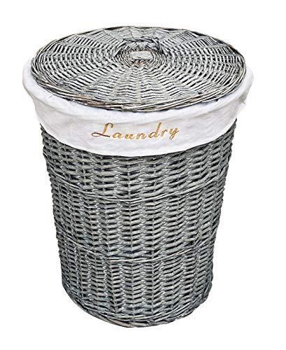 topfurnishing Grey Wicker Round Laundry Basket With Cotton Lining And Lid Large 44x59cm High