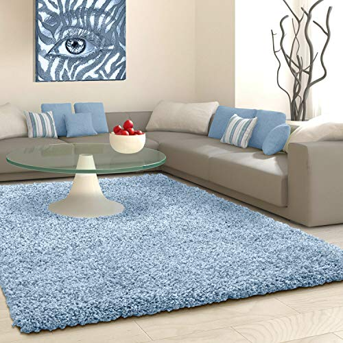 SHAGGY Rug Rugs Living Room Large Soft Touch 5cm Thick Pile Modern Bedroom Living Room Area Rugs Non Shed (Duck Egg Blue, 120cm x 170cm (4ft x 6ft))