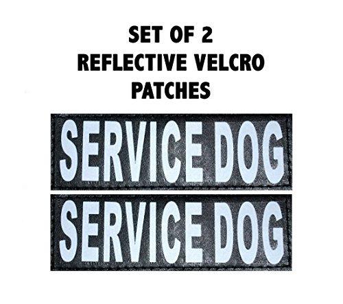 Set of 2 Service Dog Reflective Service Dog Patches for Dog Harnesses & Vests. (Large 6' x 2')