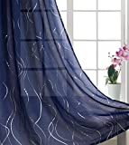 Home Fashion Sheer Curtains Grommets Top Modern Art Line Window Treatment for Girls Bedroom Cute Foil Print Wave Line with Dots Thin and Soft for Kids Room 54' Wide by 63' Long Navy Blue 1 Set