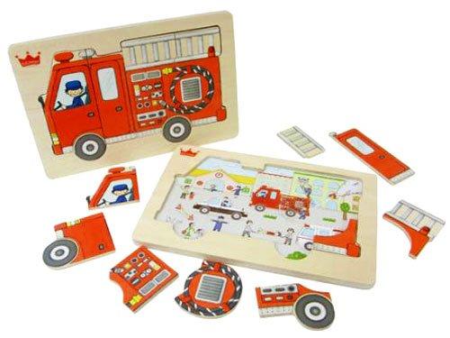 Ed.inter(エド・インター) 木製パズル ファイヤートラック パズル Fire Truck Puzzle【806319】