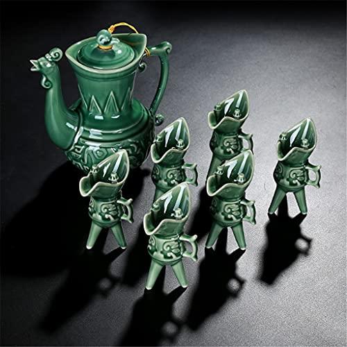 STRAW Set di Vini in Ceramica Flagon, Bicchiere di Vino Bianco, Celadon, Tazza Antica, treppiede, Tazza di Vino, Regalo del Dispenser di Vino (Color : A)