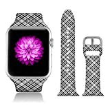 FTFCASE Sport Bands Compatible with iWatch 38mm/40mm Plaid - Grey, Flower Printed Soft Silicone Strap Replacement for iWatch 38mm/40mm Series 4/3/2/1 Women Men