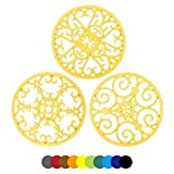 Silicone Trivet Mat 7.87' Multi-Use Hot Pads Round Pot Holders Heat Resistant Non Slip Flexible Durable Hot Pot for Dishes,Countertops,Tables Set of 3 (Yellow)