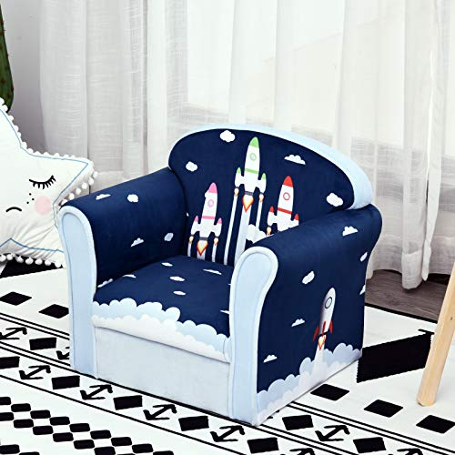 HOMCOM Children's Armchair Flannel Kids Sofa Tub Chair Cartoon Rocket Pattern Wooden Frame Bedroom Playroom Seater Blue