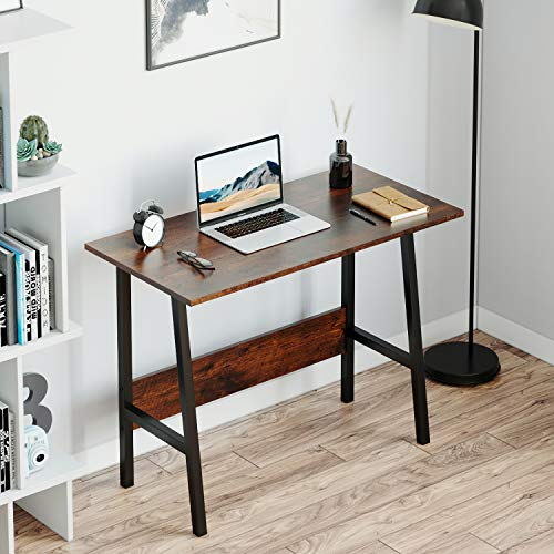 jeffordoutlet Computer Desk, Office Study Working Desk Table, Sturdy Metal & Wood Laptop for Teenager, Adult (Retro)