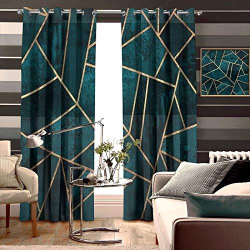 AKLSNTAJNFK 3D Printed Bedroom Blackout Curtains Deep Teal Stone 2 Panels Living Room W42 x L54 Inch