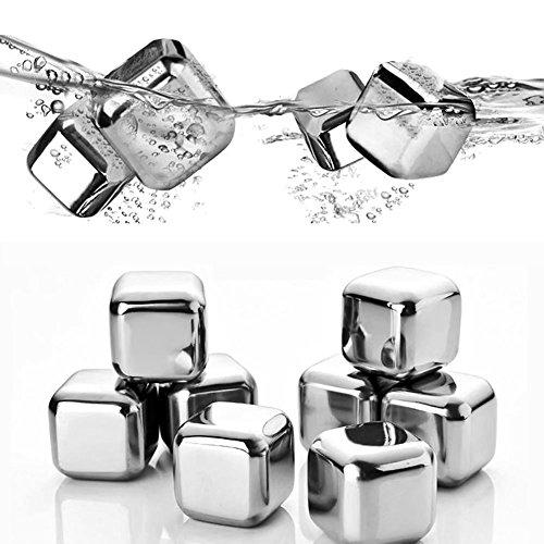 Fransande 8 piezas de acero 304 piedras de whisky de vino reutilizables para cubitos de hielo con clip de hielo