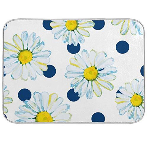 Alfombrilla de secado absorbente para platos, acuarela, color blanco, con lunares, color azul marino, con lazo para colgar para encimeras de cocina, fregaderos, frigorífico, 40,6 x 45,7 cm