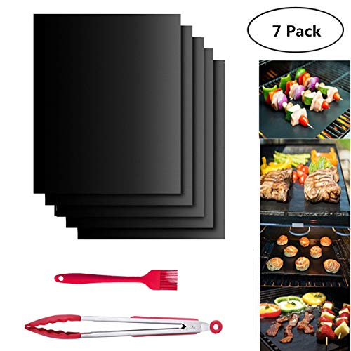 HFBlins Black Grill BBQ Mat Set- 5pcs Reusable Barbecue Baking Mats, Non Stick BBQ Grill Cooking Mat Easy to Clean with Silicone Oil Brushes and Kitchen Grill Tongs