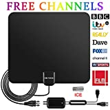 TV Aerial, 2020 LATEST Indoor Digital HDTV Aerials with Long 90-130 Miles Range with Detachable Amplifier...