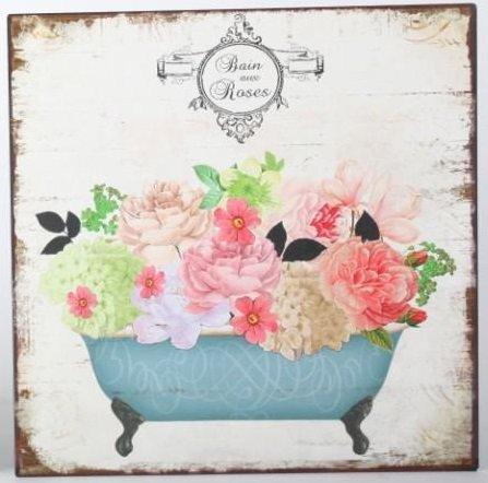 AVENUELAFAYETTE Cadre Tableau Plaque Murale métal Fleurs dans Baignoire - Romantique - Vintage rétro - 30 x 30 cm (Roses)