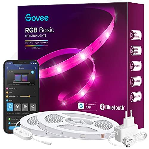 Govee LED Streifen 20m, Bluetooth RGB LED Strip mit App-Steuerung, Farbwechsel, Musik Sync, 64 Szenenmodus, Lichterkette für Schlafzimmer, Wohnzimmer, Haus, Bar, Party, Fest