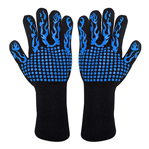 BESTonZON 1 para hitzebeständige mikrowelle Mitts küche silikon ofen Handschuhe grillwerkzeug für Home Restaurant (blau Taschenlampe punktierung kleber)