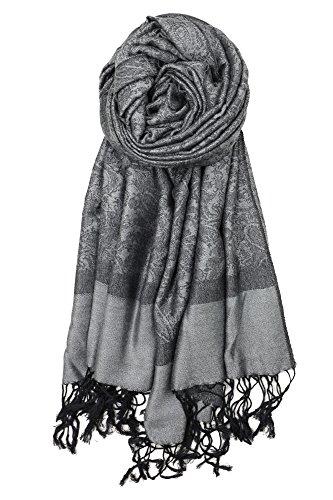 Achillea Two Tone Vintage Jacquard Paisley Pashmina Shawl Wrap Scarf (Dark Grey)