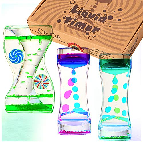 Liquid Timer - Sensory Toy for Relaxation, Liquid Motion Bubbler Timer with Floating Color Lava Lamp, 3-Pack Incredibly Effective Calming Stress Relief Hourglass Toy for Kids & Adults, Autism & ADHD