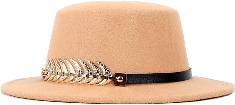 L.W.SUSL Fashion Pork Pie Hat Wild Color Hat Gold Round Fedora Hat Tide Male Male Version of The British Flat Top Women's Shoes
