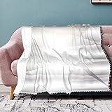 Nifdhkw Triángulo y línea Recta Gris geométrico Moderno pompón con Flecos Manta cómoda con Capucha Mantas de Abrigo Polar cálido Suave
