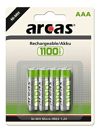 Arcas 177 11403 - Akku Ni-MH 4er Pack, HR03 / AAA / Micro, 1100 mAh, schnellladefähig, perfekt für Gartenbeleuchtung & Schnurlose Handye
