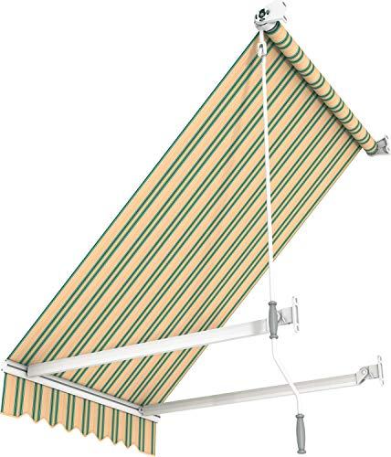 Broxsun Balkon- und Fenstermarkise Idaho, 1m bis 5m, 120 Stoffe Farben, Auslage bis 1,8m, Fallarmmarkise, Breite 100 bis 110cm, Länge 100cm, Kurbelantrieb manuell