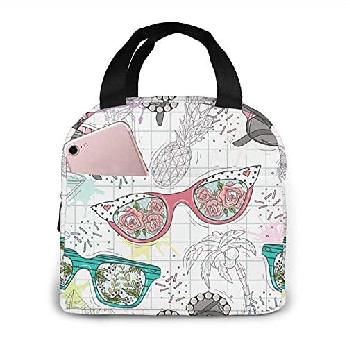 Bolsa para el almuerzo con diseño de hojas tropicales, reutilizable, portátil, aislante, ideal para el trabajo, para adultos y mujeres, gafas de sol divertidas