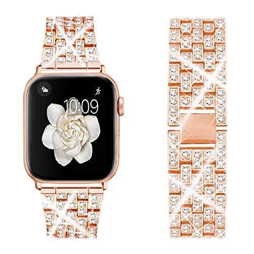 DEALELE Armbänd Kompatibel mit iWatch 38mm 42mm 40mm 44mm, Luxus Diamant Edelstahl Metall Ersatz Armband für Apple Watch Series 6/5 / 4/3 Frauen Männer, 38mm / 40mm, Roségold