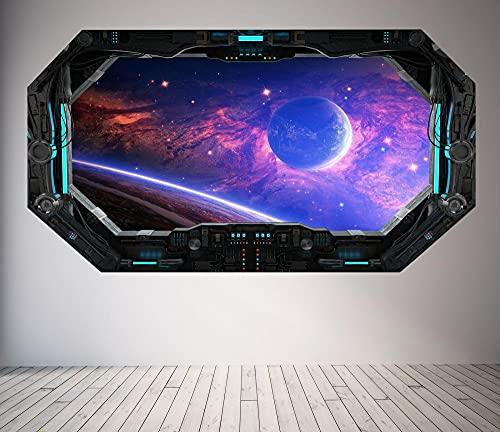 WALL STICKER WINDOW 3D LOOK - MOON PLANET GALAXY STARS JUNGEN SCHLAFZIMMER 3D Wandsticker 60x90cm
