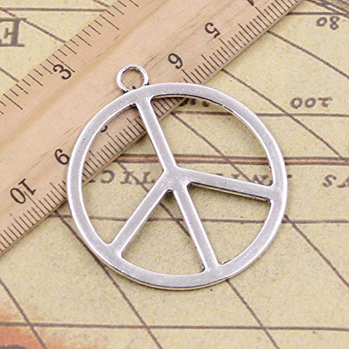 WANM 8Pcs Charms Peace Symbol 47X42Mm Tibetan Pendants Crafts Making Findings Handmade Antique Jewelry Diy For Necklace