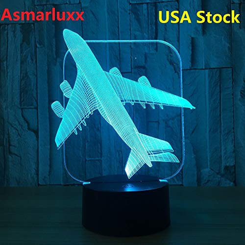 Airplane 3D LED Light Table Lamp Optical Illusion Bulbing Night Light Changing Birthday Mood Lamp Ship from US or China