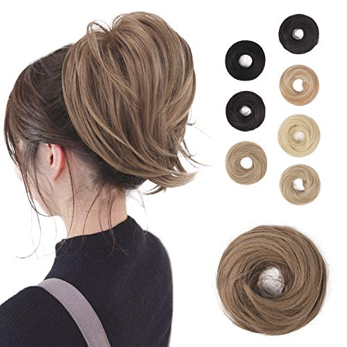BARSDAR Hair Bun Ponytail Extension, Straight Synthetic Hairpiece Fully Short Ponytail Bun Extensions Hair Accessories Elastic Easy Scrunchie for Women( Light Golden Brown & Pale Golden Blonde Mixed)