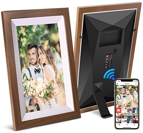 JHZL 10,1 Zoll 16 GB Smart WiFi Cloud Digitaler Bilderrahmen mit 800 x 1280 IPS LCD-Panel, dänisches Design Frameo App Fotos von überall senden, Touchscreen,(Massivholzrahmen) (Braun)